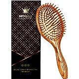Woolsy Premium OakWood Hair Brush with Natural Bamboo Bristles - Anti-Dandruff Paddle Brush For Men & Women