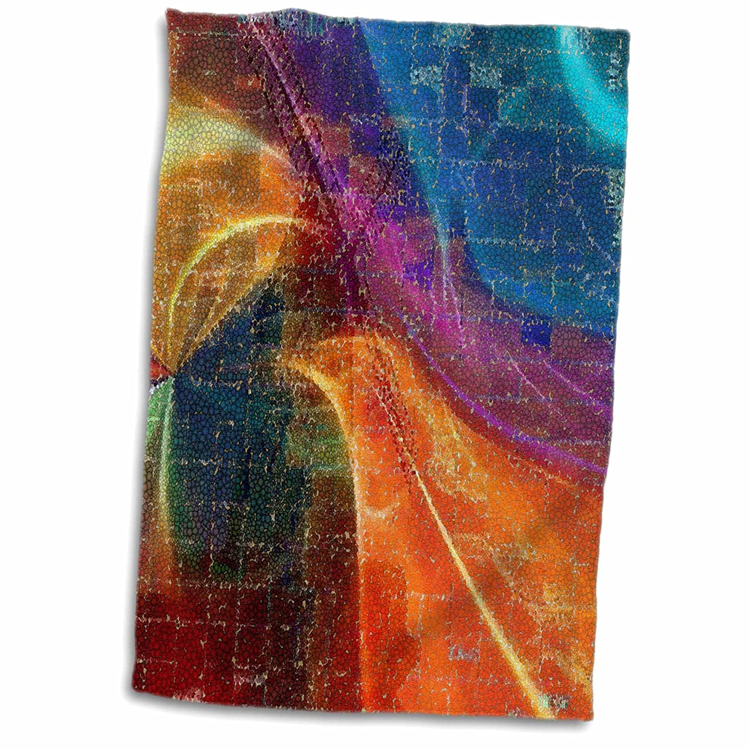 3d Rose Image Of Bold Colored Fractal Mosaic Hand Towel 15 X 22 Washcloths Home Kitchen