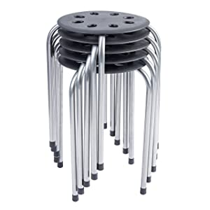 Pearington 16 Gauge Steel Classroom Furniture Stools for Kids; Multipurpose Stool Chairs; Flexible Seating; Stacking Stools- Set of 5, Black and Silver
