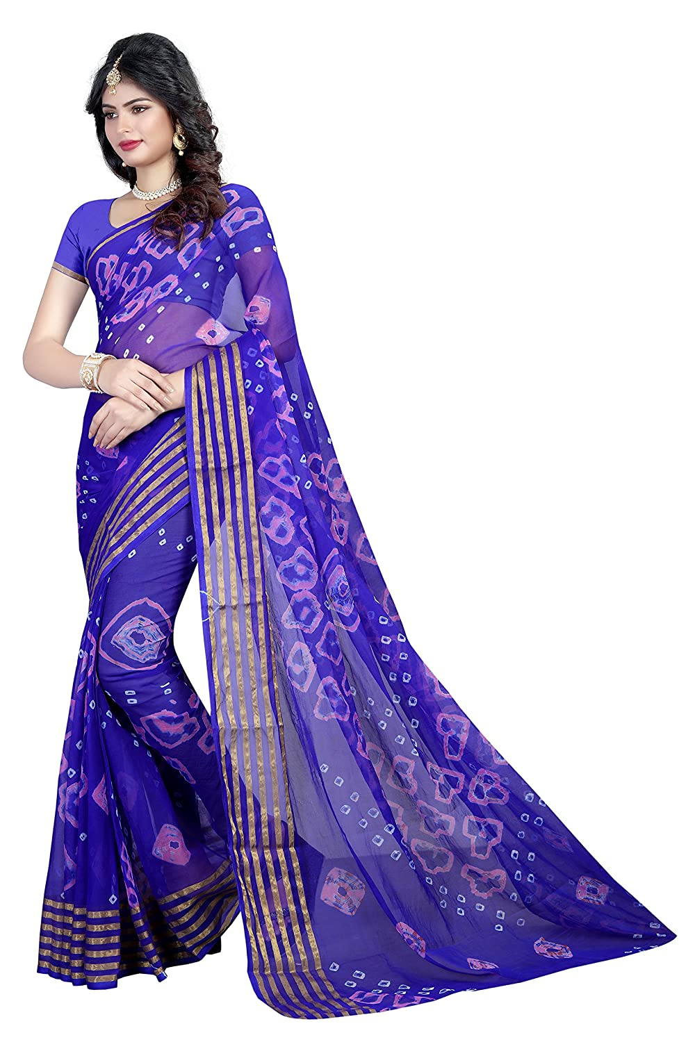 81b0fd21e654d Wedding Villa Women's Tussar Silk Bandhani Saree with Blouse Piece (6  line_1, Blue): Amazon.in: Clothing & Accessories