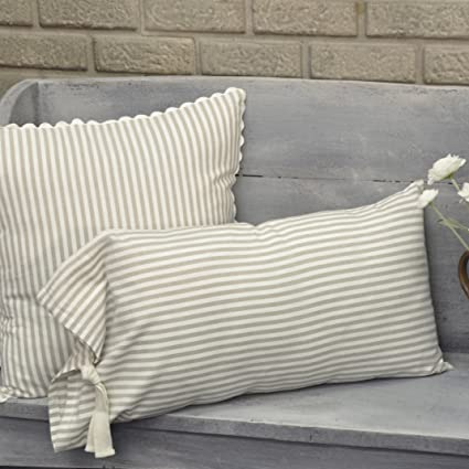 Piper classics farmhouse ticking stripe taupe fabric throw pillow cover 12 x 25