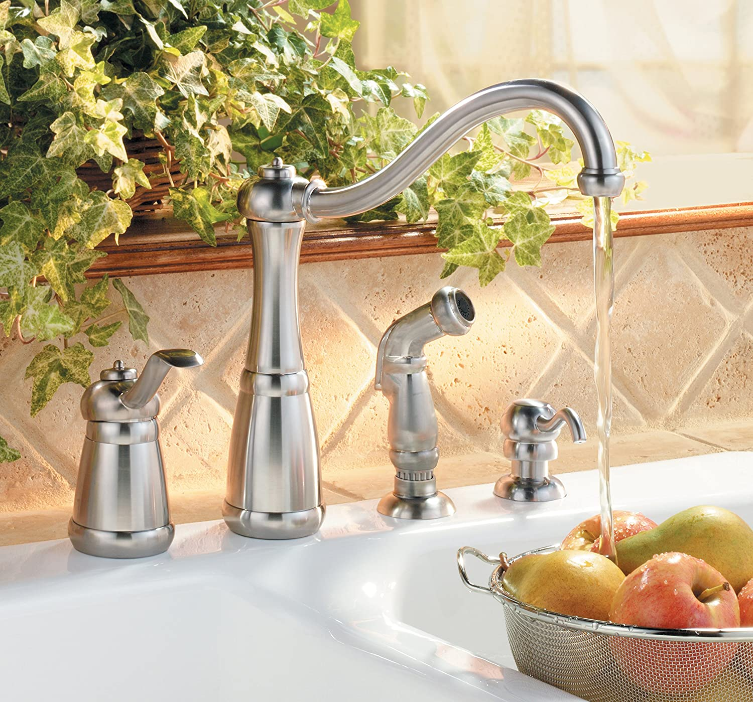pfister lf0264nss marielle 1 handle kitchen faucet with side spray