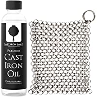 Stainless Steel Chainmail Cast Iron Scrubber and Seasoning Oil: Clean, Condition and Maintain Your Skillet, Dutch Oven…