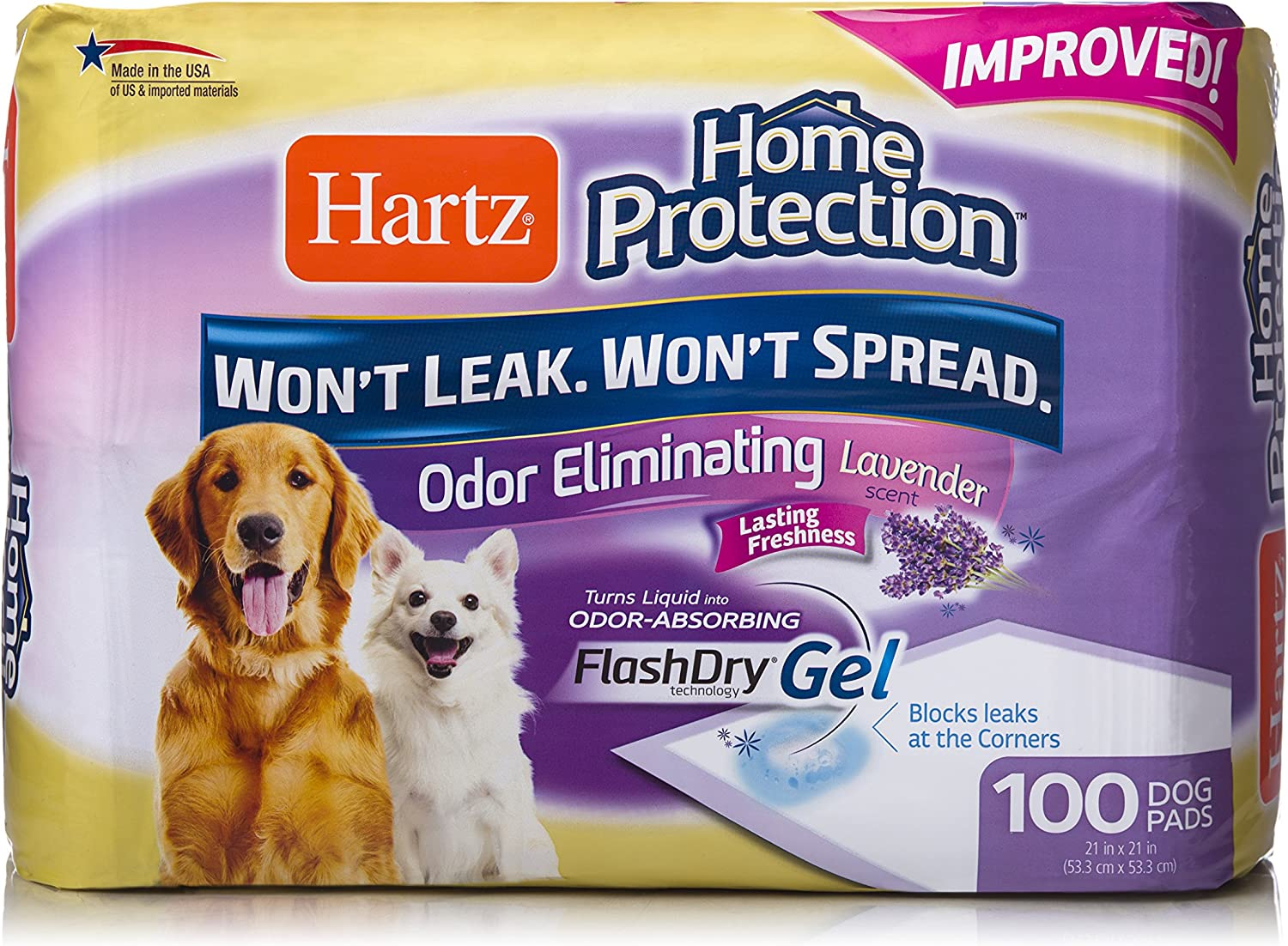 Hartz Home Protection Lavender Scented Odor Eliminating Gel Dog Pads - 100 Count