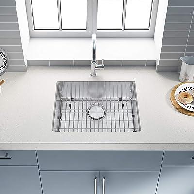 Buy 23 Inch Undermount Kitchen Sink Stainless Steel Single Bowl Kitchen Sink With Strainer Bottom Grid Handmade Bar Or Prep Kitchen Sink 23 X18 X9 Online In Germany B096xrlmzy