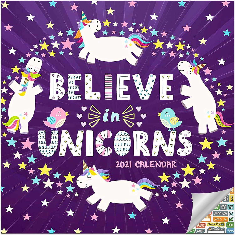 Believe in Unicorns Calendar 2021 Bundle - Deluxe 2021 Unicorns Wall Calendar with Over 100 Calendar Stickers (Unicorns Gifts, Office Supplies)