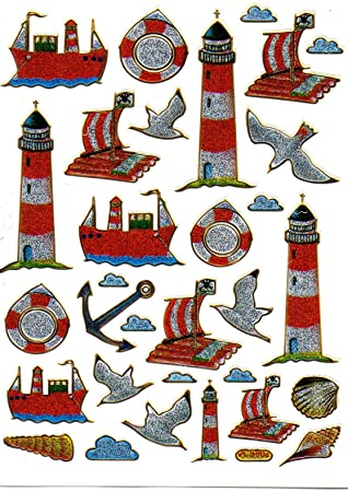 Lighthouse On Raft Anchor Ship Colourful Stickers 1 Sheet 135 Mm X