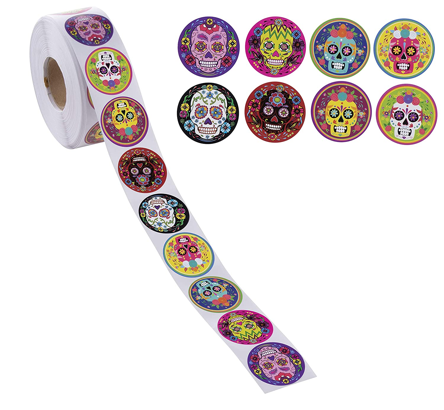 Dia de Los Muertos Stickers - 1000-Count Day of The Dead Sticker Roll for Kids, Mexican Sugar Skull Stickers for Students, Holiday Party Supplies, Goodie Bags, 8 Designs, 1.5 Inches Diameter Juvale