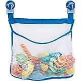 mDesign sac de rangement suspendu sans perçage – filet de rangement mural pour jouets de bain – serviteur de douche imperméable pour accessoires de douche, shampooings, etc. – transparent/bleu