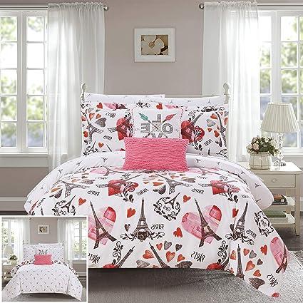 Amazon Com Chic Home Chez Jo 9 Piece Reversible Comforter Set Paris
