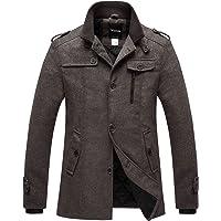 5f43faee5ec Wantdo Men s Wool Blend Pea Coat Single Breasted Thicken Warm Military Peacoat  Jacket