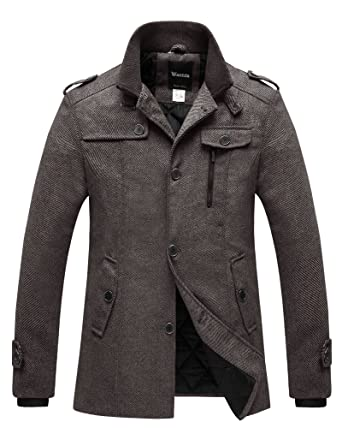 4ce5dbf3e6ddb Wantdo Men s Quilted Lined Pea Coat Single Breasted Thicken Warm Military  Peacoat Jacket Coffee Small