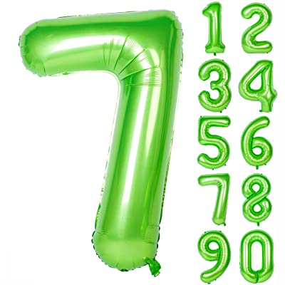 40 Inch Green Large Numbers 0-9 Birthday Party Decorations Helium Foil Mylar Big Number Balloon Digital 7: Health & Personal Care