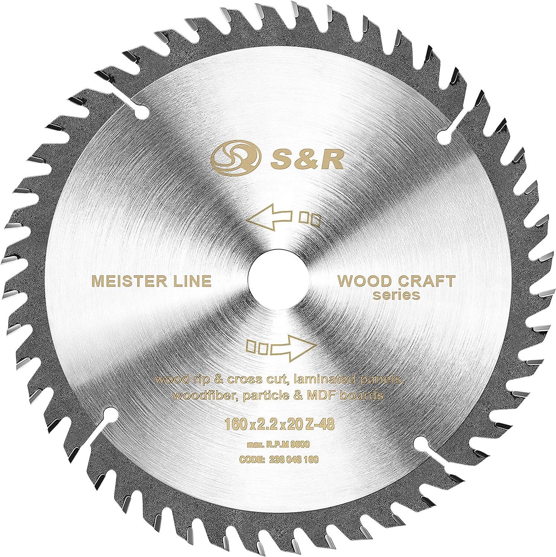 S&R Hoja de Sierra Circular Madera 160 mm x 20 mm (+ 16 mm anillo) x2,2mm 48D / Disco de Corte Madera. Calidad profesional