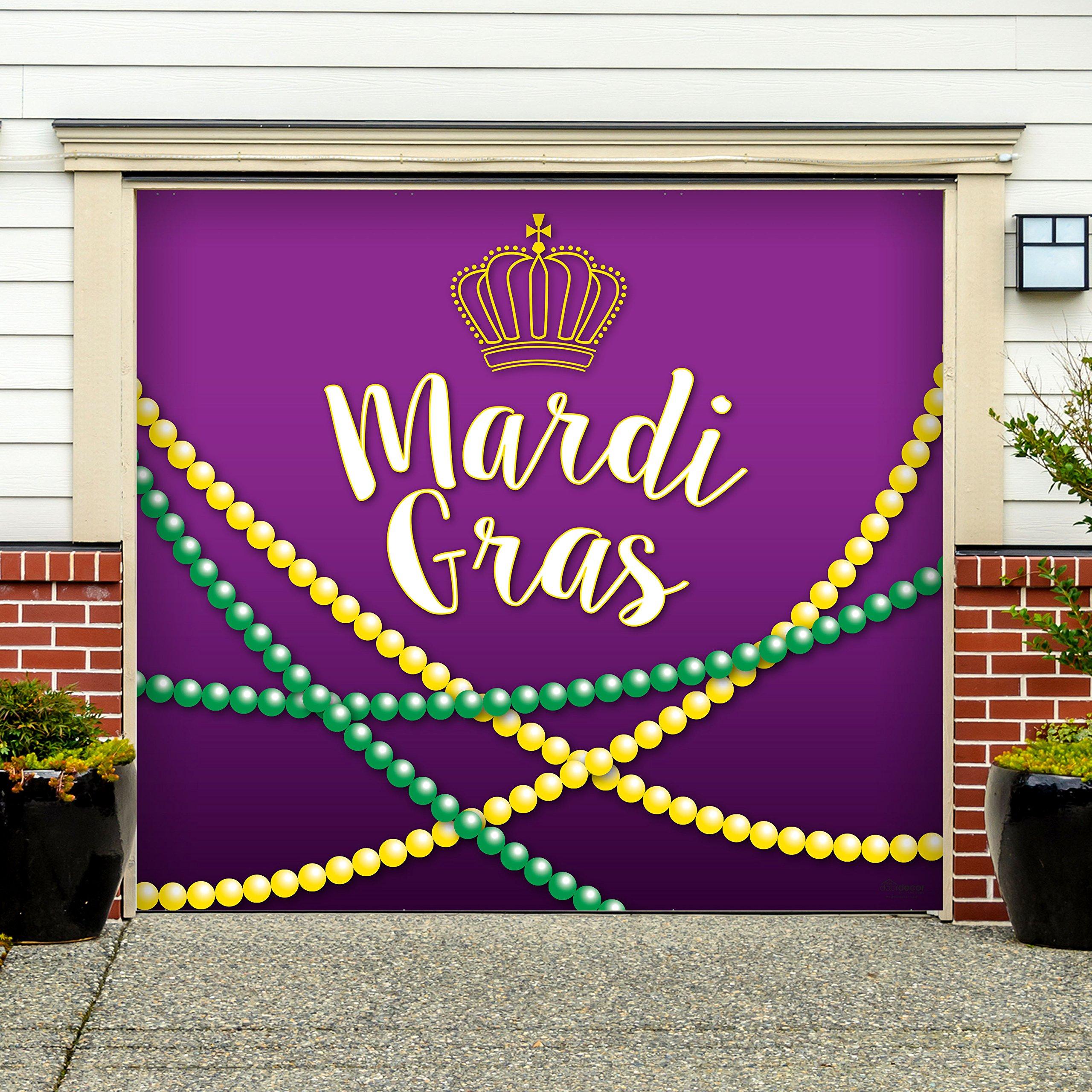 Outdoor Mardi Gras Decorations Garage Door Banner Cover Mural Décoration 7'x8' - Mardi Gras Beads - ''The Original Mardi Gras Supplies Holiday Garage Door Banner Decor'' by Victory Corps