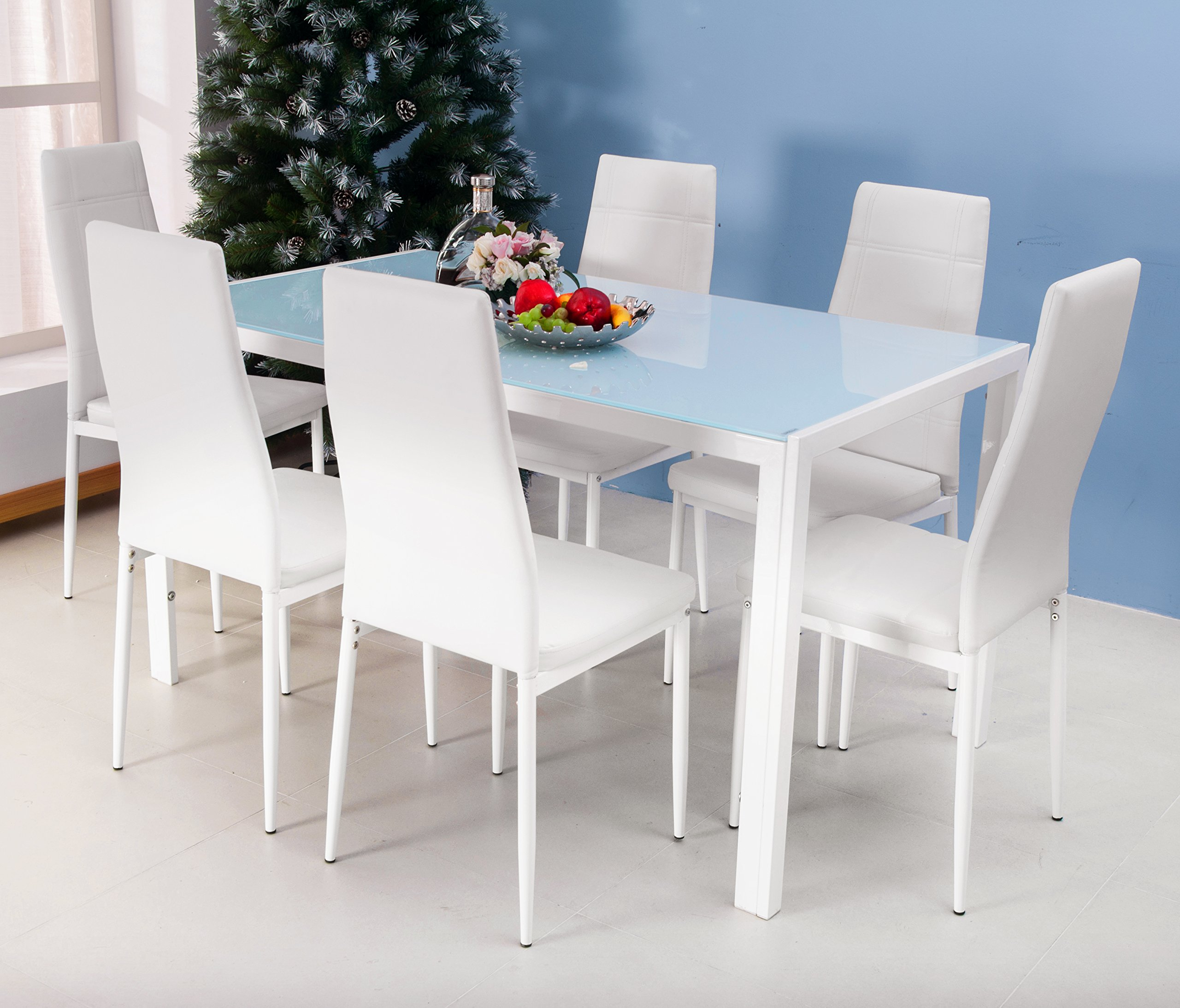 Merax 7PC Glass Top Dining Set 6 Person Dining Table and Chairs Set Kitchen Modern Furniture Dining Dinette (White)