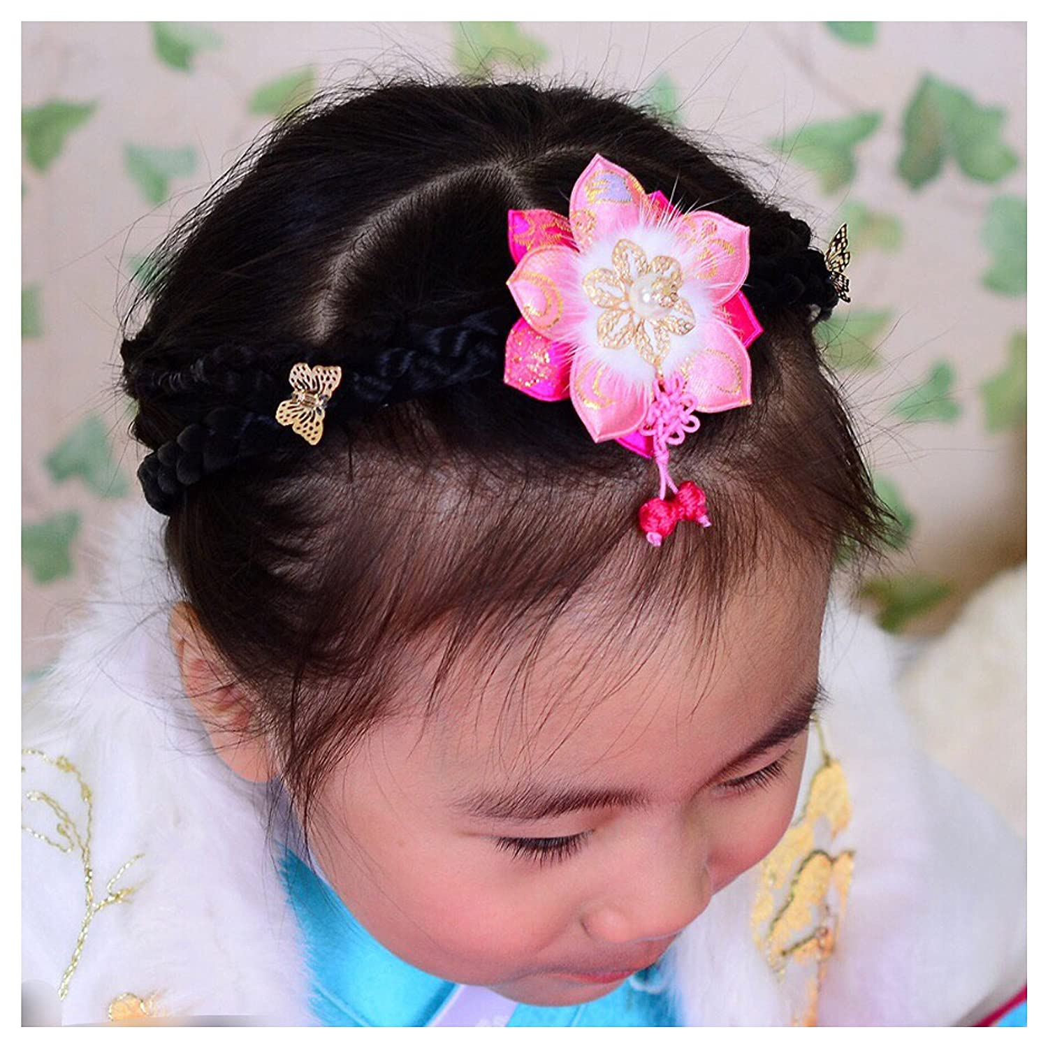 Hairband One Year birthday in Korea Chuseok Happy New Year Hair Accessory Fur and Pearl Korean Traditional Costume Hanbok Dress