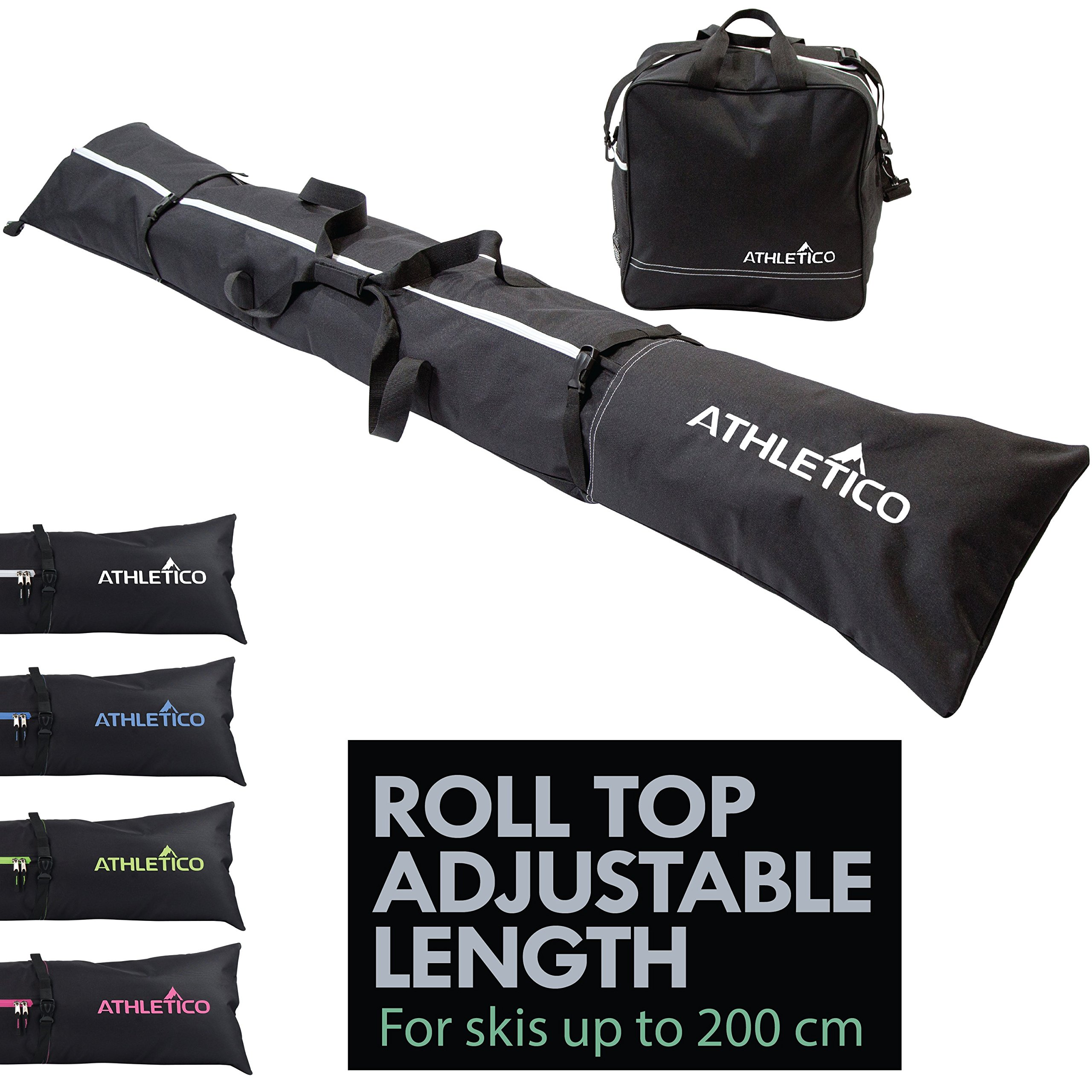 Athletico Two-Piece Ski and Boot Bag Combo | Store & Transport Skis Up to 200 cm and Boots Up to Size 13 | Includes 1 Ski Bag & 1 Ski Boot Bag (Black) by Athletico