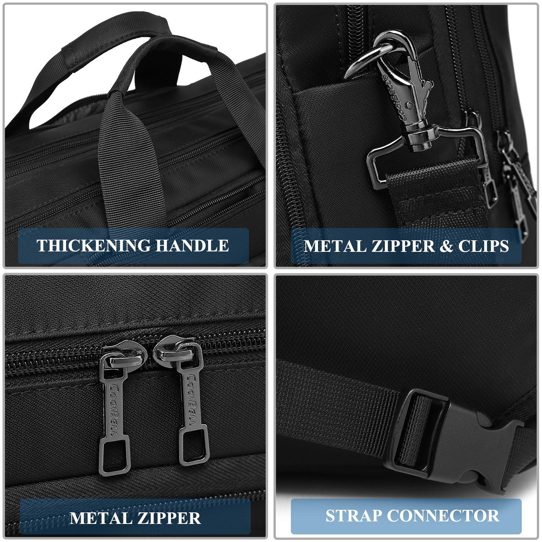 DTBG Laptop Bag Convertible Backpack Messenger Bag Nylon Shoulder Bag Men Women Business Briefcase Travel Rucksack with Side Handbag and Shoulder Strap Fits 17.3 Inches Laptop and Notebook (Black) by DTBG (Image #7)