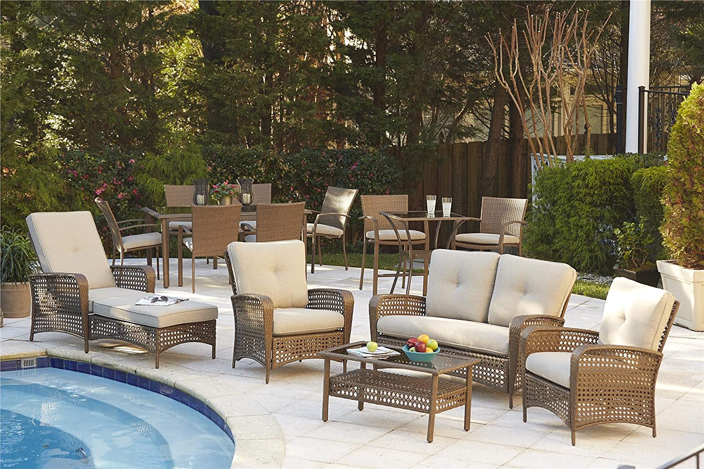 Amazon.com: Cosco Outdoor Dining Set, 7 Piece, Amber Wicker, Tan ...