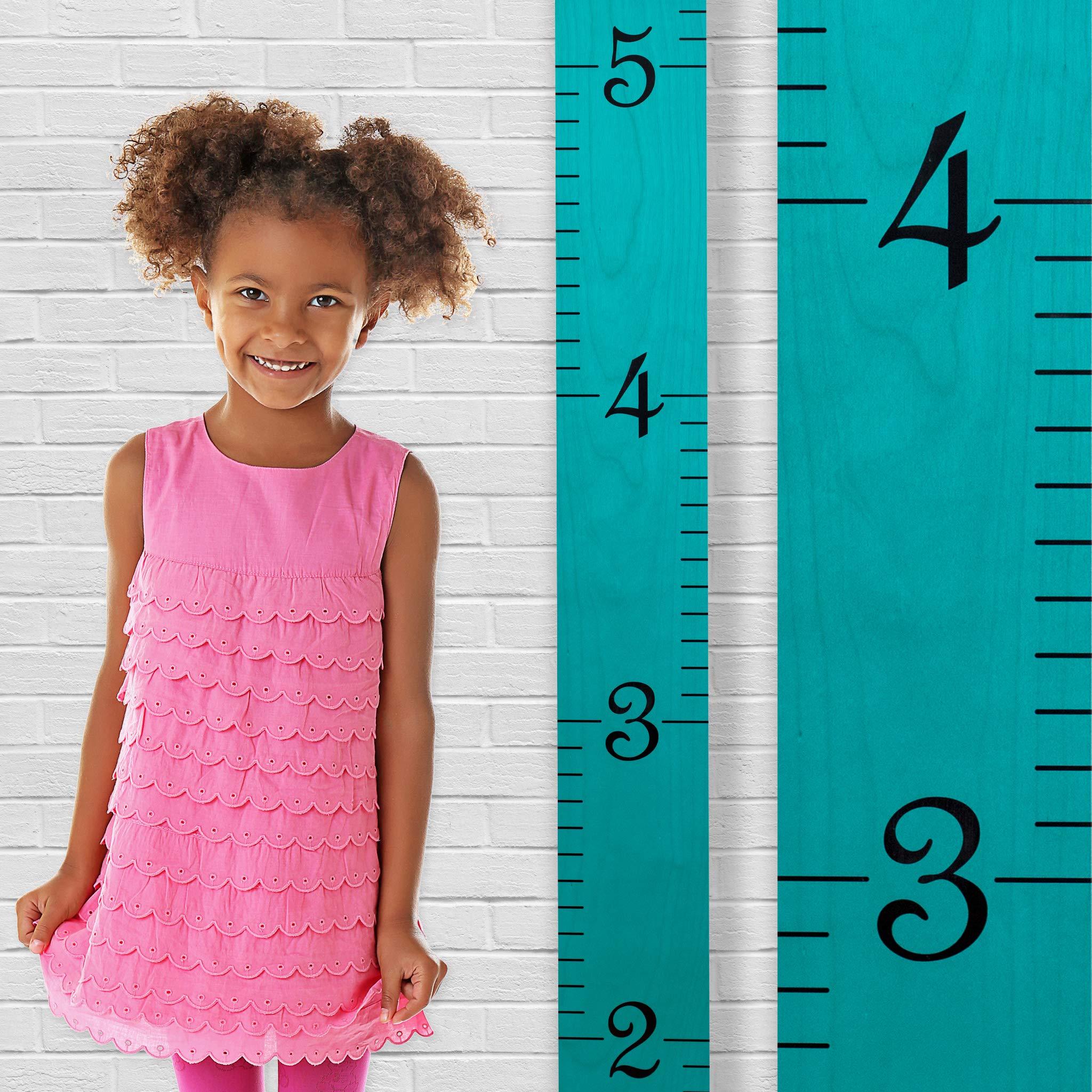 Growth Chart Art | Growth Ruler Wood Chart for Boys & Girls | Height Ruler | Measuring Kids Height Wall Décor | Kids Ruler in Robins Egg Blue