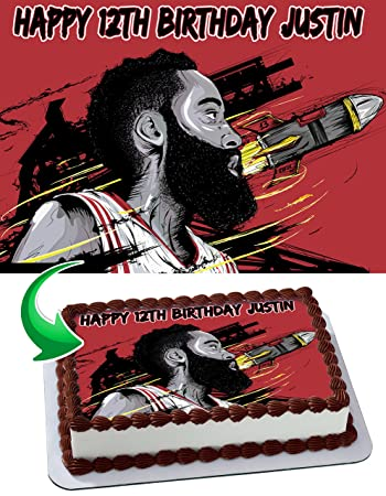 James Harden Houston Rockets Personalized Cake Toppers Icing Sugar Paper A4 Sheet Edible Frosting Photo Birthday