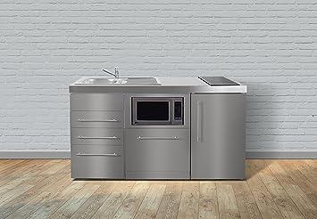 Miniküche Kühlschrank Links : Miniküche premiumline mpgsmess u edelstahl u kühlschrank