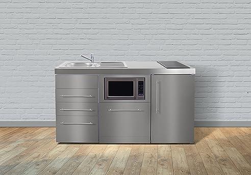 Miniküche Premiumline Mpgsmess3 160 – Edelstahl – Kühlschrank