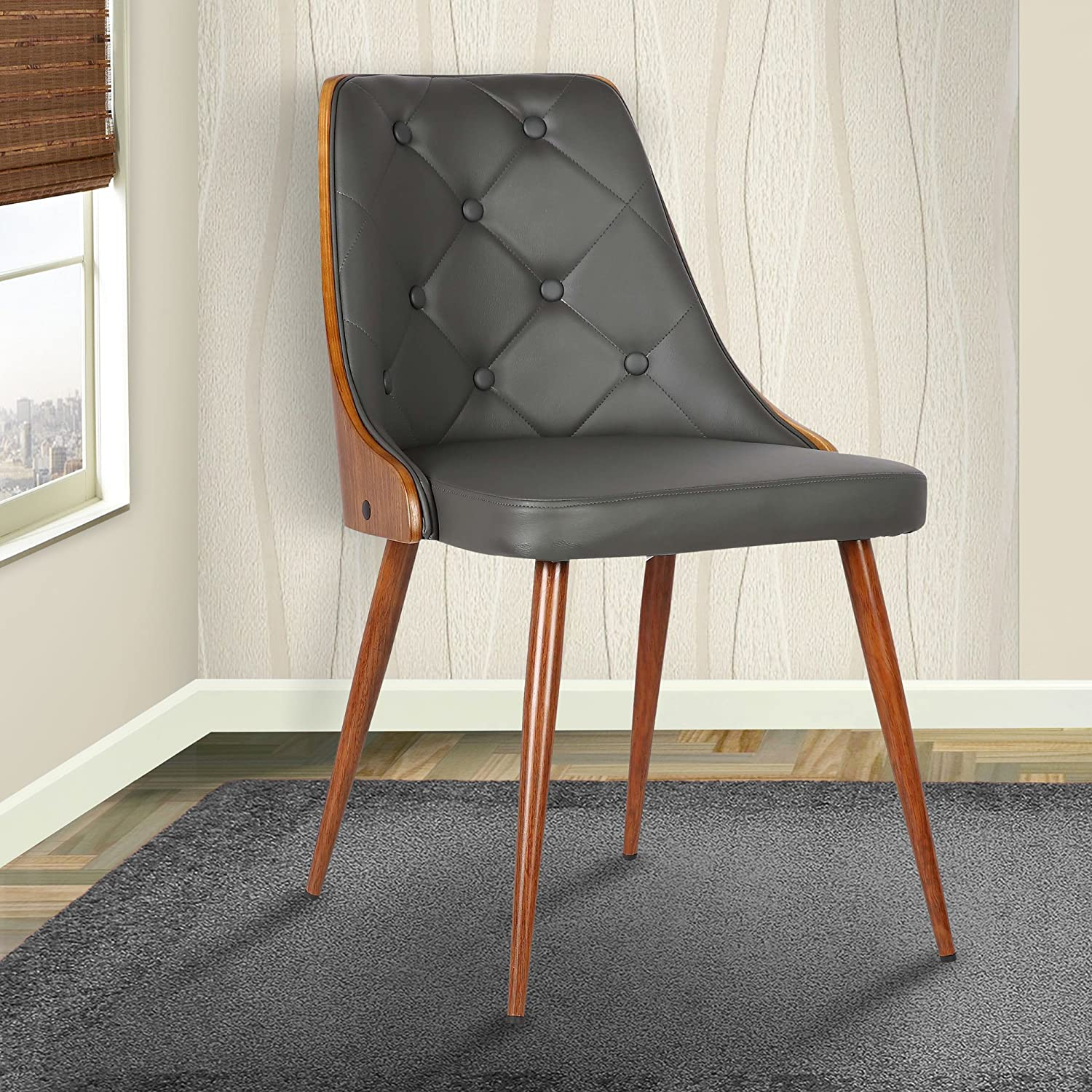 amazoncom armen living lily midcentury dining chair graywalnut finish chairs