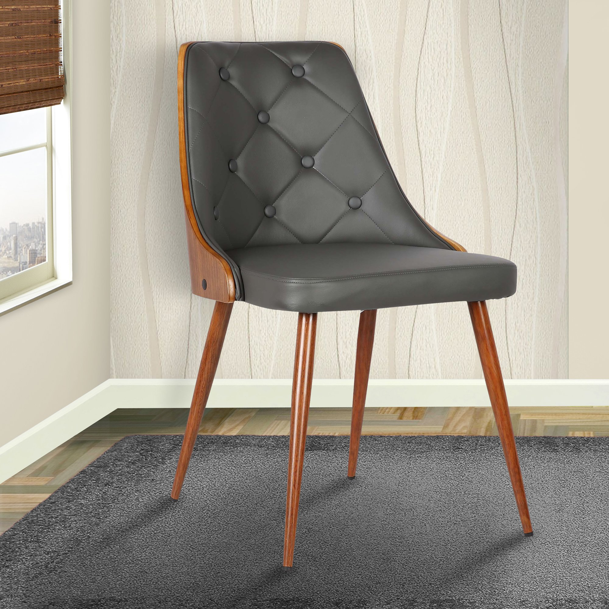 Armen Living LCLLSIWAGRAY Lily Dining Chair in Grey Faux Leather and Walnut Wood Finish