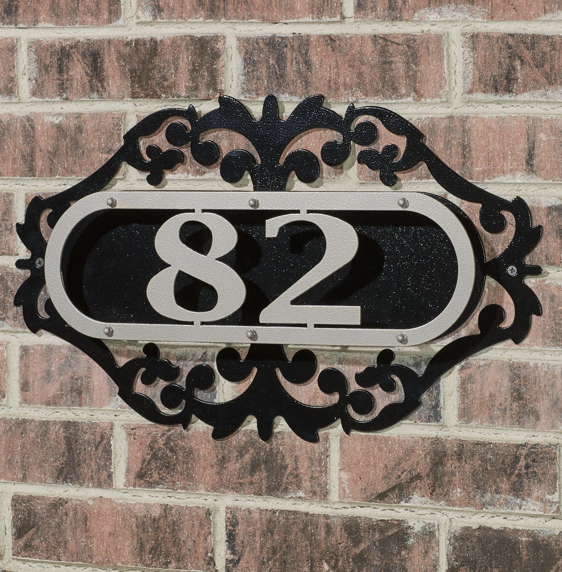 Touch Of Class Metal LaRoyal House Number Plaque Silver/Black One to Three Numbers