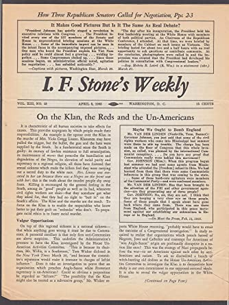baa13207b111 I F STONE S WEEKLY Vol XIII  13 KKK Communists Civil Rights LBJ 4 5 1965