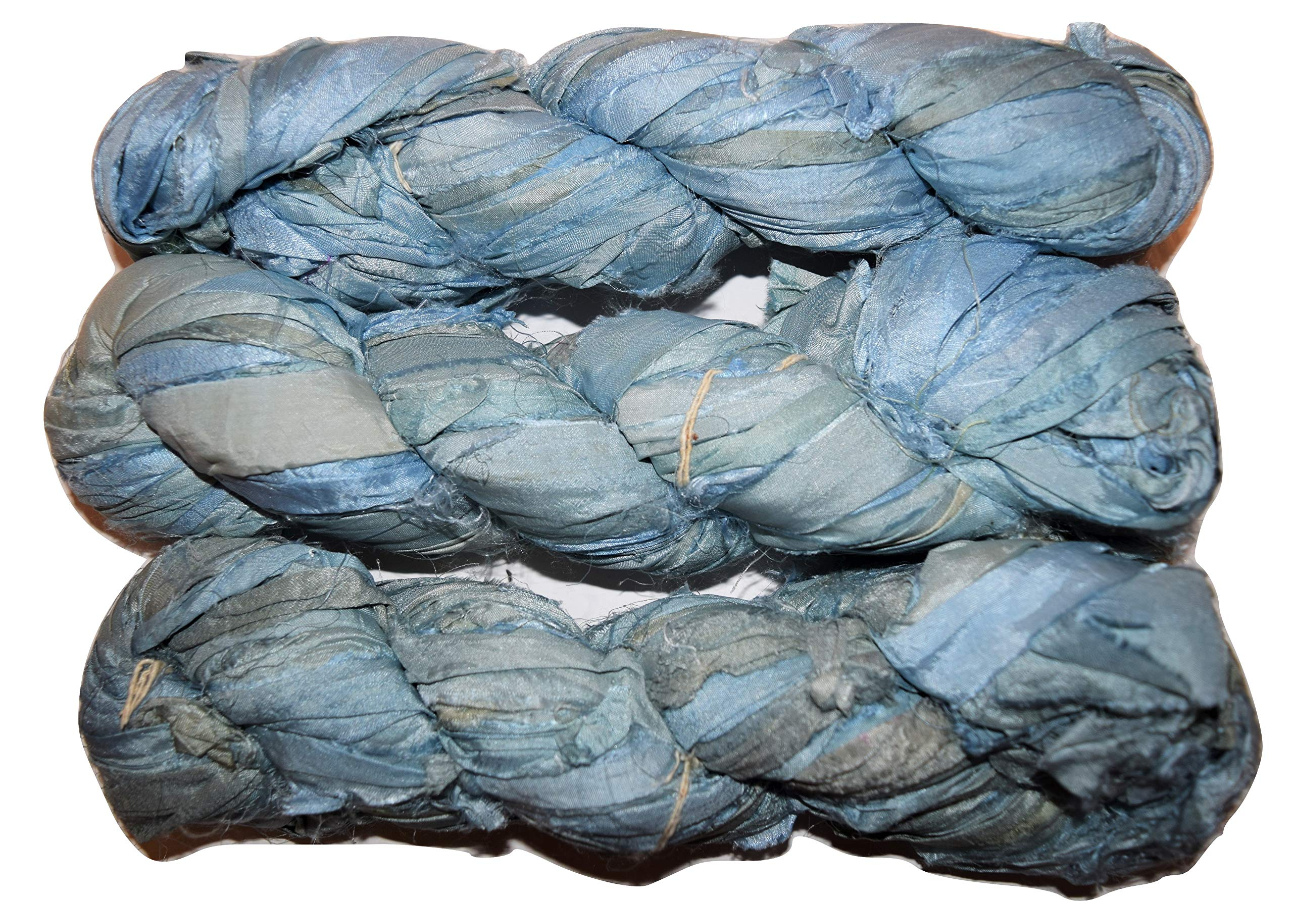 Prussian Blue Jewelry Making Trim 100g Recycled Sari Silk Ribbon Yarn