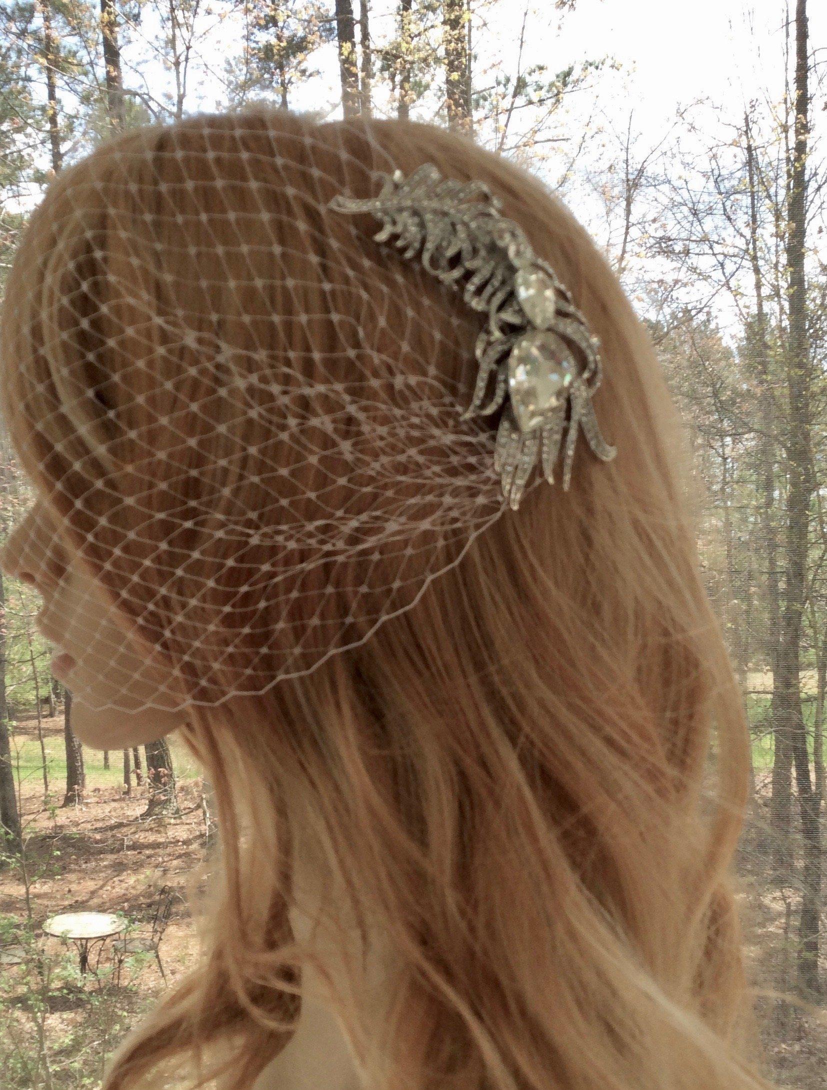 Peacock Art Deco Veil With Comb, Bandeau Bridal Veil For Wedding