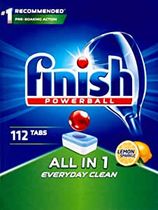 Finish Powerball All in One Dishwasher Tablets, 112 Pack, Lemon Sparkle