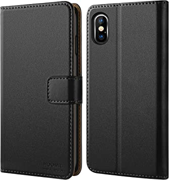 HOOMIL Funda para iPhone XS Max, Funda de Cuero PU Premium Carcasa para Apple iPhone XS Max (Negro): Amazon.es: Electrónica