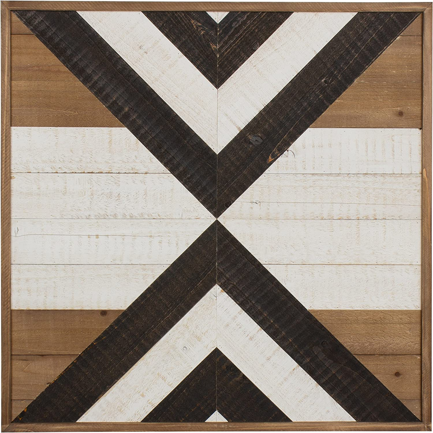 Kate and Laurel Baralt Shiplap Wood Plank Art, Black, White and Rustic Brown