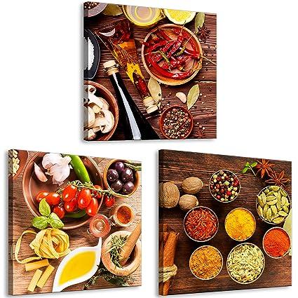 decomonkey Bilder Küche 60x20 cm 3 Teilig Leinwandbilder Bild auf Leinwand  Vlies Wandbild Kunstdruck Wanddeko Wand Wohnzimmer Wanddekoration Deko ...