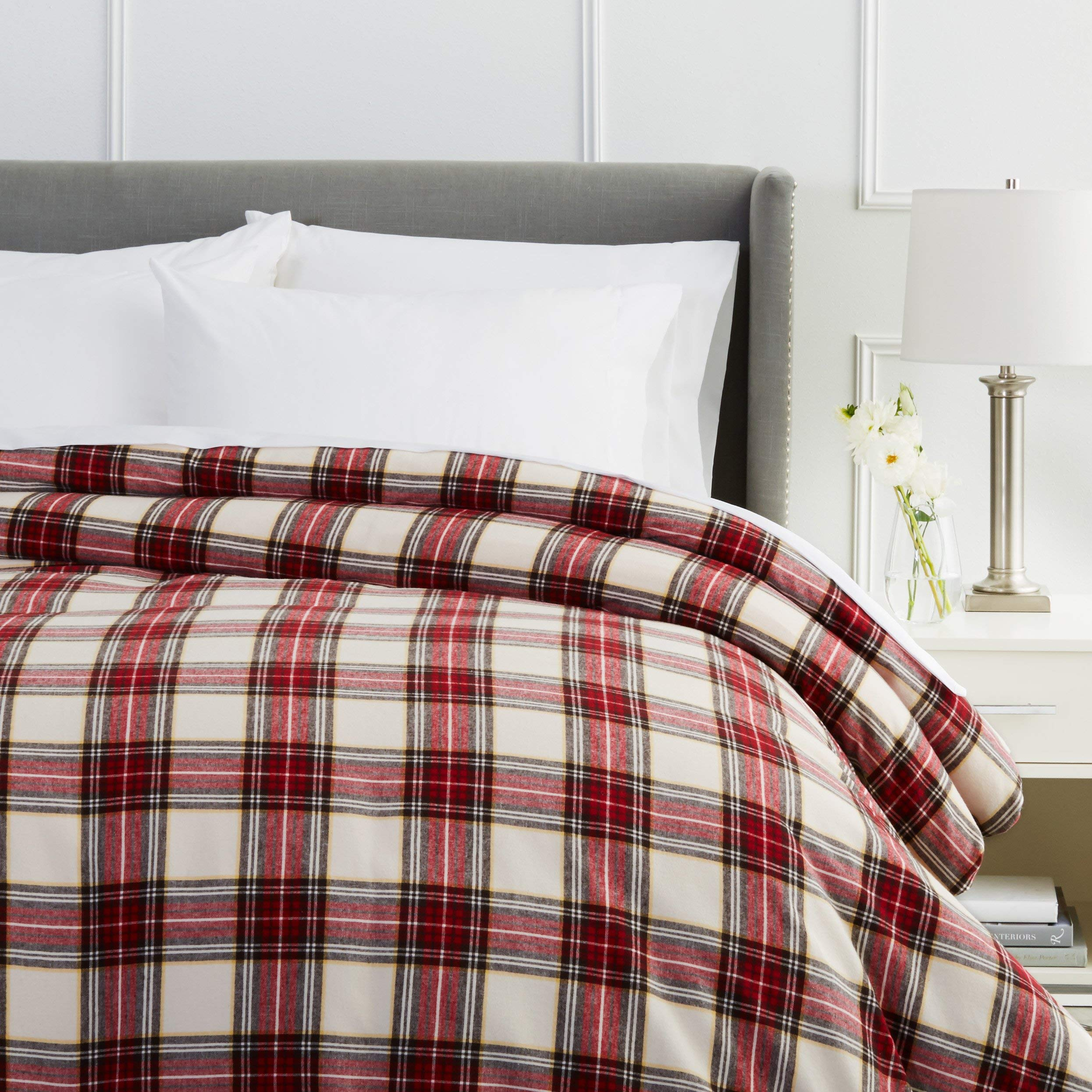 Pinzon Plaid Flannel Duvet Cover - Twin, Cream and Red Plaid