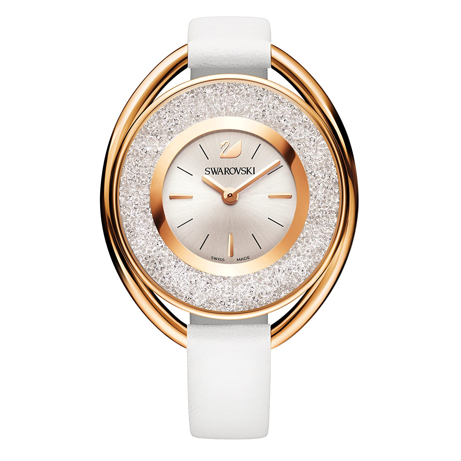 Amazon.com: Swarovski Crystalline White Oval watch 5230946 Woman White Leather: Swarovski: Watches
