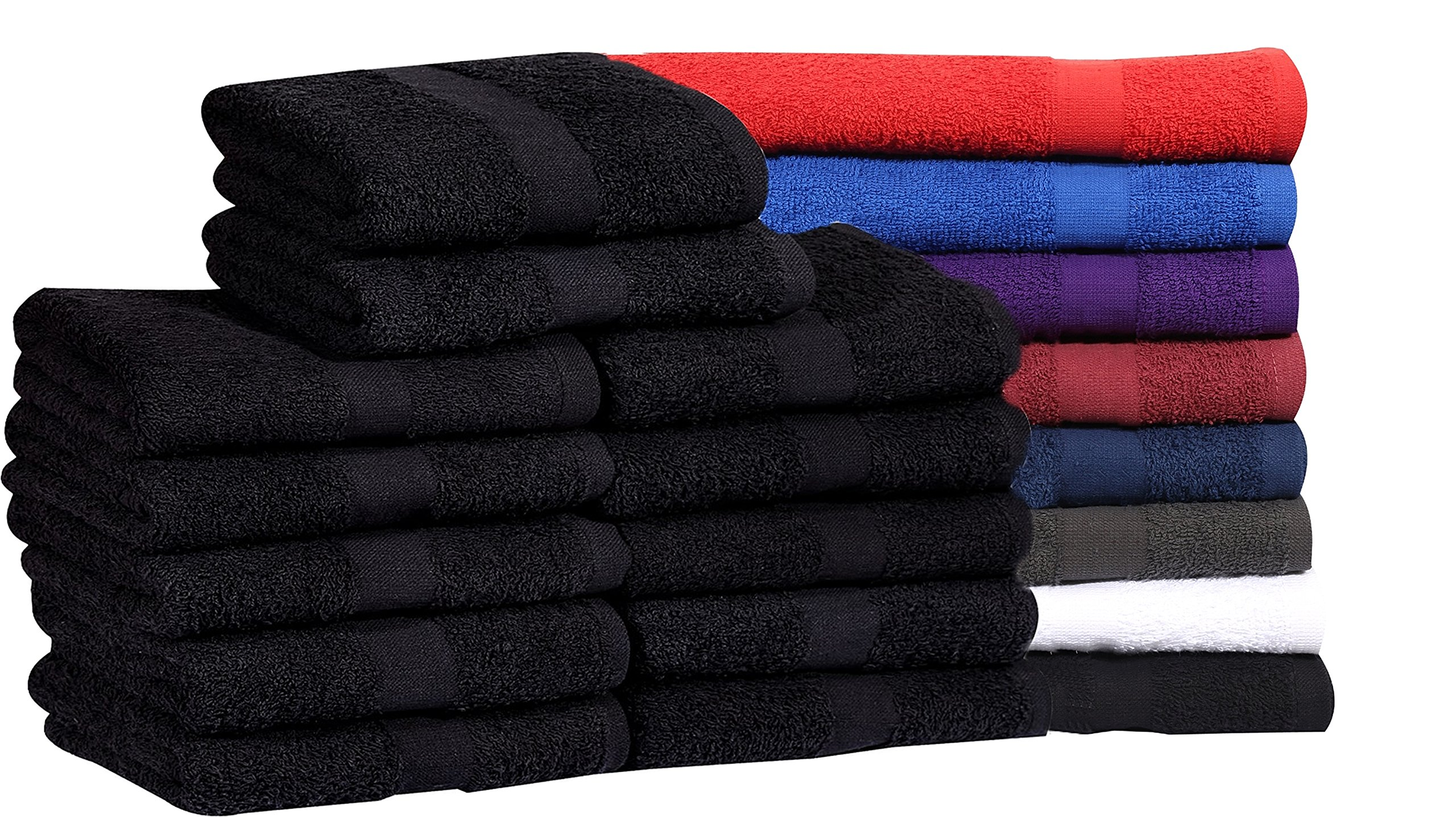 MAGTEX Cotton Salon Towels (24-Pack, Black,16x27 inches) - Soft Absorbent Quick Dry Gym-Salon-Spa Hand Towel (Black)