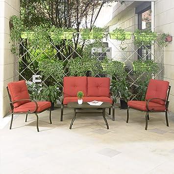 Delightful Cloud Mountain 4 Piece Patio Furniture Set Outdoor Conversation Set  Cushioned Sofa Set Garden Love Seat