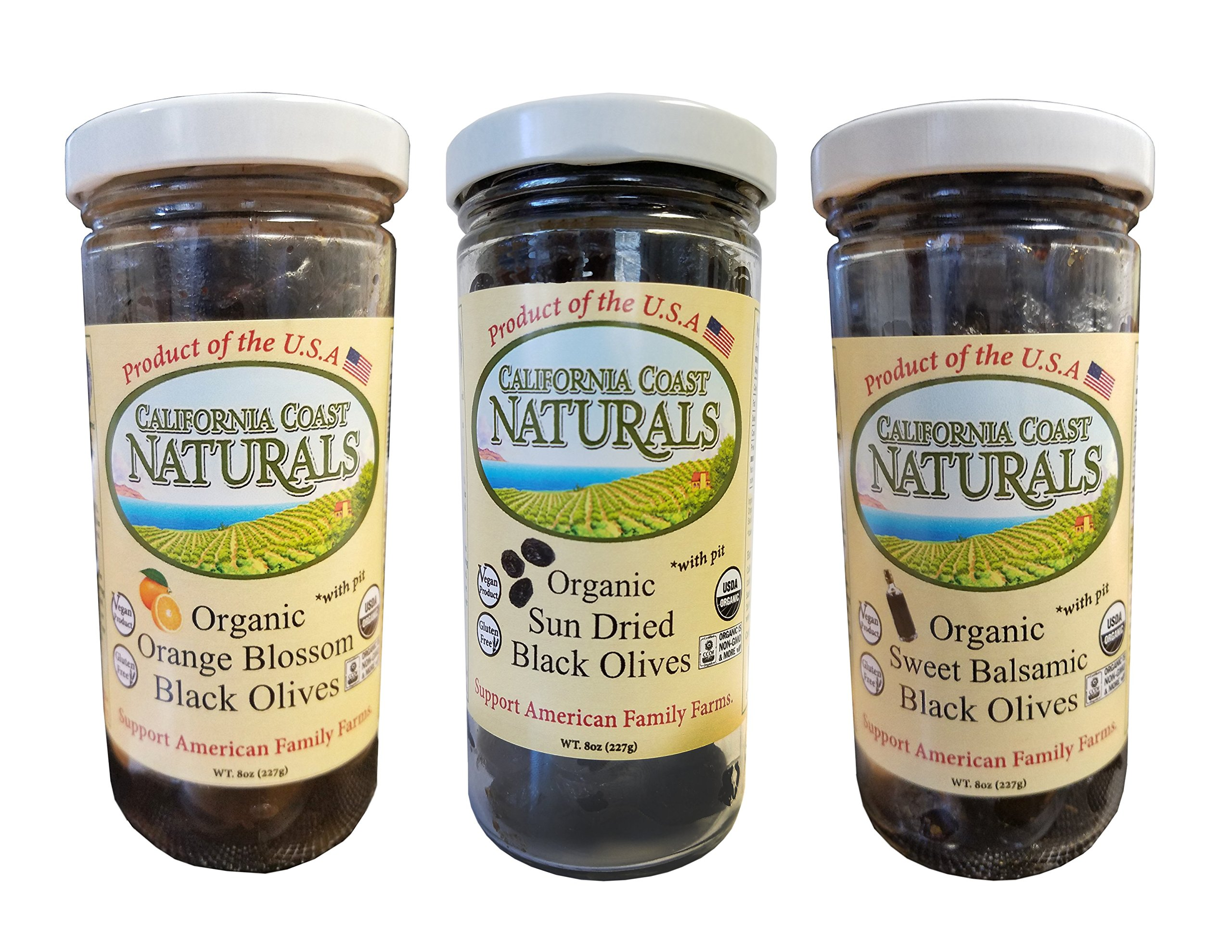 California Coast Naturals Hand Picked USDA Organic Sun Dried Olive 3 Pack, Non-GMO, Gluten Free
