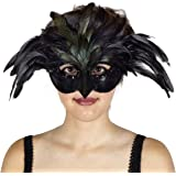 Zucker Black Feather Raven Masquerade Mask - Halloween Cosplay Costume Venetian Mardi Gras Crow Mask