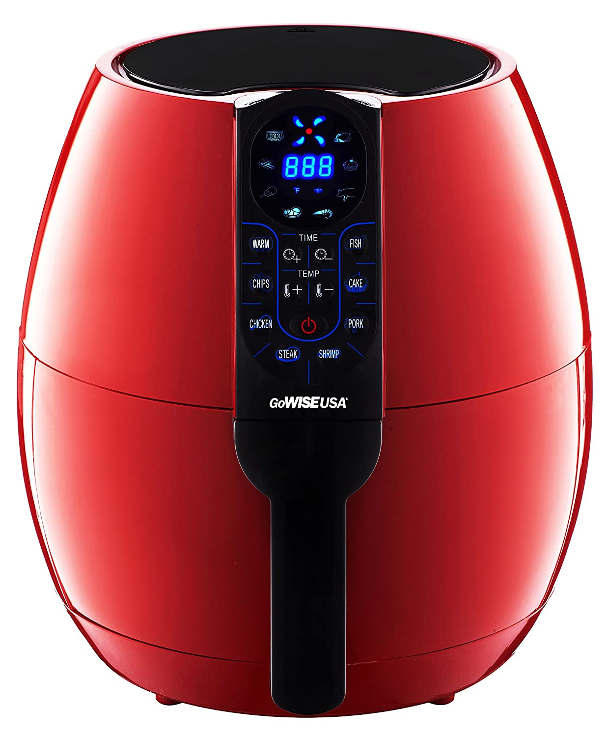 GoWISE USA GW22639 8-in-1 Electric Air Fryer Digital Programmable Cooking Settings 3.7 Qt, Chili Red