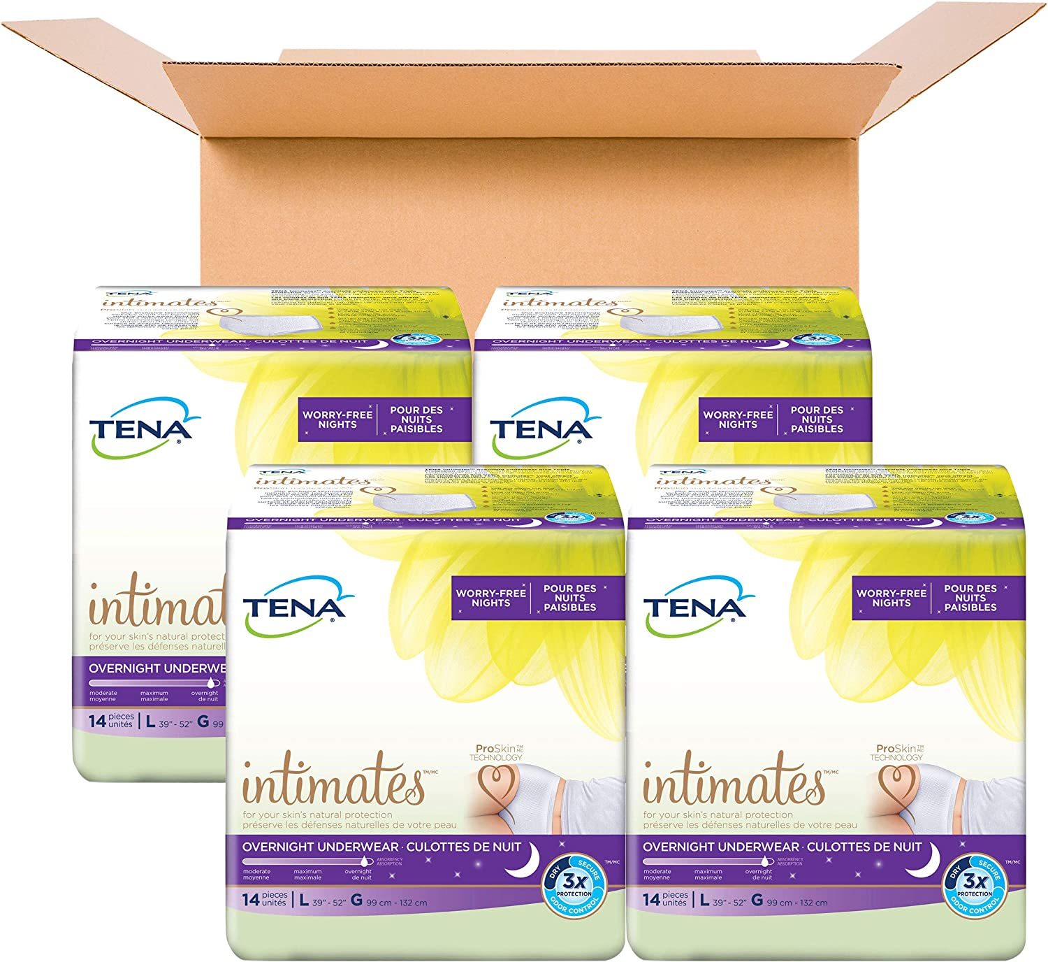 Tena Incontinence Underwear for Women, for Overnight, Large, 56 Count: Health & Personal Care