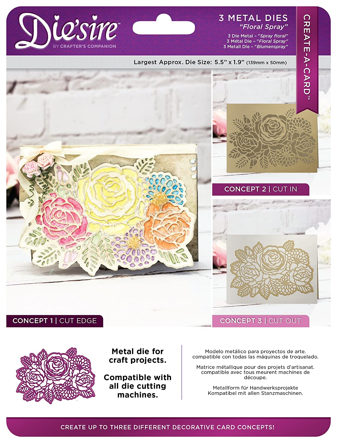 Die'sire DS-CAD-FLSP Create-a-Card Cut on Edge Dies - Floral Spray Metal Die, 17.4 x 22.5 x 0.02 cm, Silver Crafter' s Companion