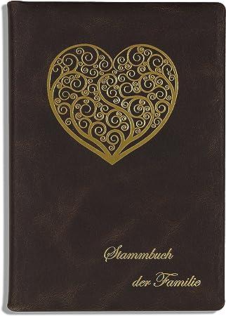 Stamm libro de familia Moyo, piel auténtica, color marrón oscuro Ornament Corazón, libros: Amazon.es: Bricolaje y herramientas