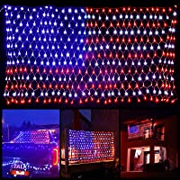 American Flag Lights with 420 Super Bright LEDs, Waterproof Led Flag Net Light of The United States, LED String Lights…