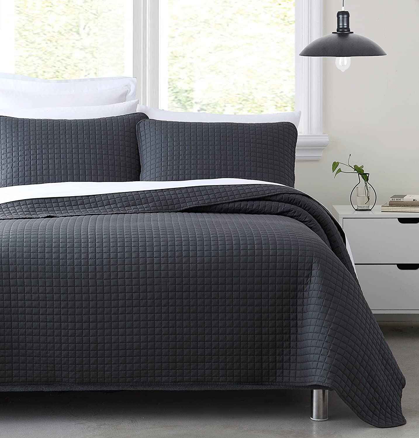 Cozy Beddings 1703-5K Quilt Sets King//Cal-King Charcoal Grey